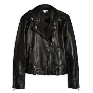 Topshop Mona Leather Biker Jacket Black